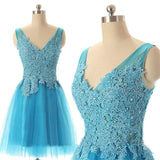 A-line V-neck Sleeveless Lace Appliqued Blue Tulle Homecoming Dresses,Simple Short Prom Dresses,Hot 66 - Solodresses