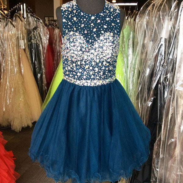Shining Illusion Neck Beaded Open Back Navy Tulle Homecoming Dresses,Hot 68 - Solodresses