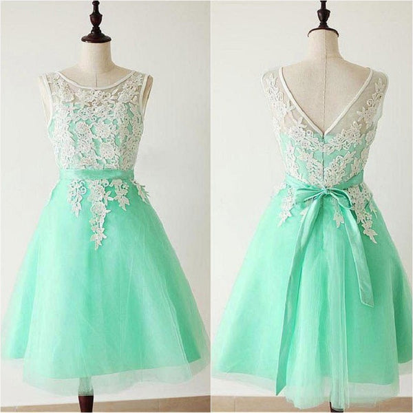 A-line Appliqued Illusion Neck Sleeveless Knee-length Mint Princess Short Organza Bridesmaid Dresses - Solodresses