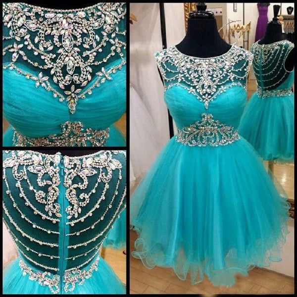 Sleeveless Blue Tulle with Beaded Mini Length A-line Homecoming Gowns,Hot 78 - Solodresses