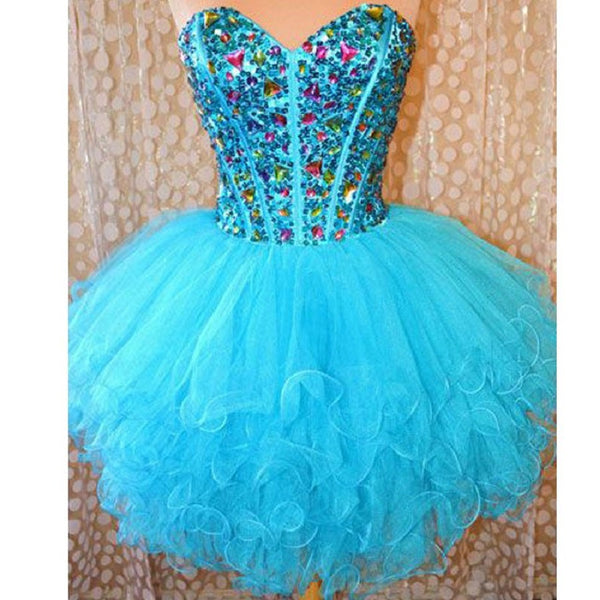 Sweetheart Neck Strapless Beaded Bodice Blue Tulle Homecoming Dresses,Hot 79 - Solodresses