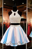 Two Pieces Homecoming Dresses,Backless A-line Beaded Bodice Homecoming Dresses,Hot 90 - Solodresses