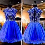 High Neck Beaded Royal Blue Tulle Mini Length Homecoming Dresses,Hot 91 - Solodresses