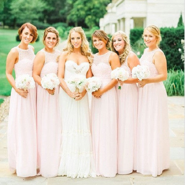 A-line Illusion Neck Sleeveless Pearls Beaded Bodice Floor-length Pink Chiffon Long Wedding Party Bridesmaid Dresses - Solodresses