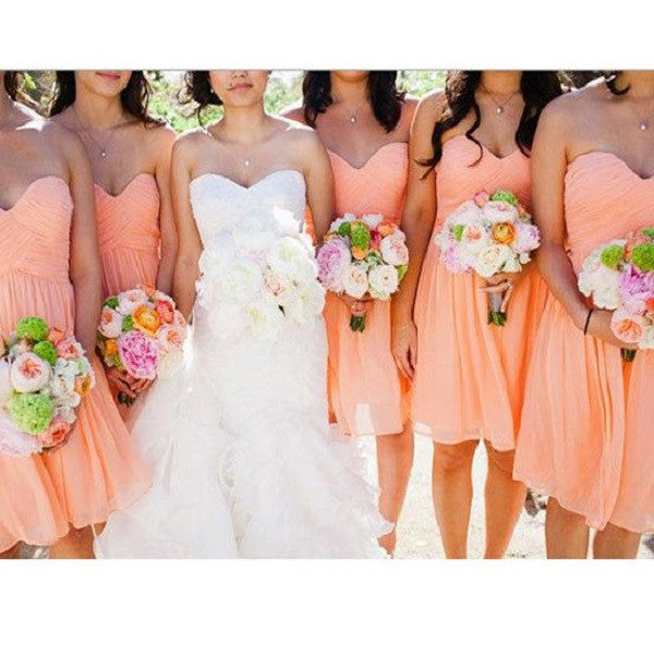 A-line Strapless Sweetheart Neck Sleeveless Ruched Embellished Mini Length Short Blush Pink Chiffon Bridesmaid Dresses - Solodresses
