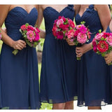 A-line Ruched Embellished Sweetheart Neck Sleeveless Mini Length Navy Blue Chiffon Bridesmaid Dresses,Short Wedding Party Bridesmaid Dresses - Solodresses