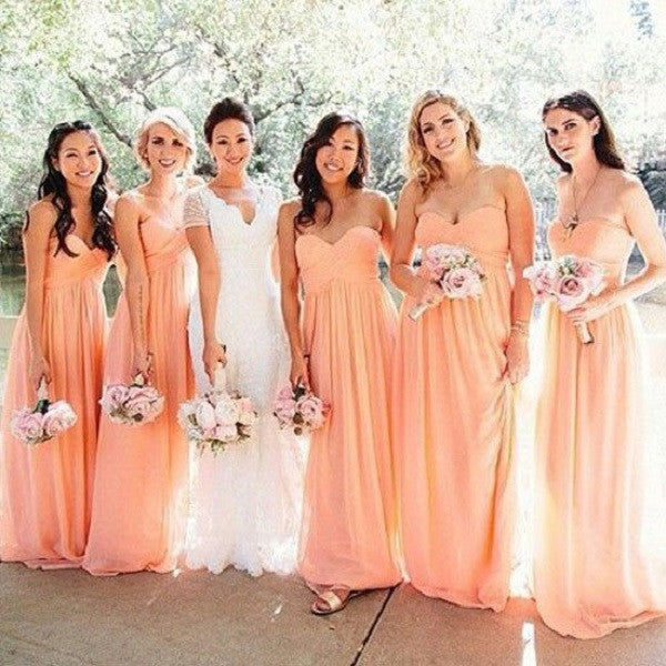 A-line Sweetheart Neck Strapless Ruched Embellished Blush Pink Chiffon Bridesmaid Dresses,Long Bridesmaid Dresses - Solodresses