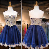 Navy Tulle Dresses,Gold Lace Appliqued Homecoming Dresses,Hot98 - Solodresses