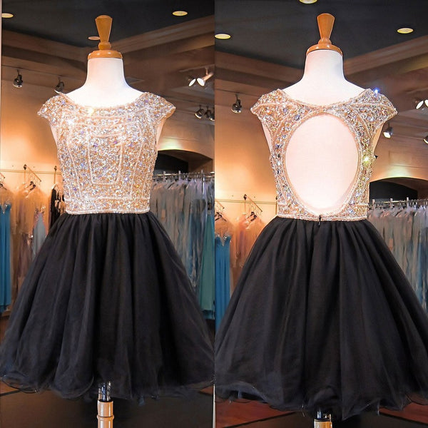 Black Tulle Backless Beaded Bodice Homecoming Dresses with Cap Sleeves,Hot 99 - Solodresses