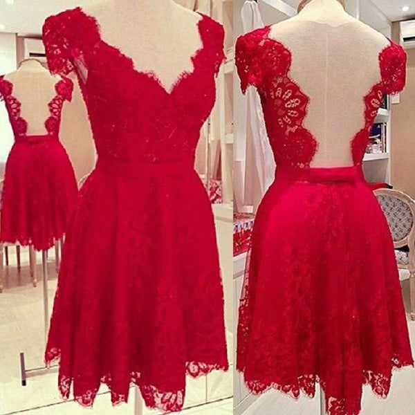 V-neck Red Lace Dresses with Cap Sleeves,Short Homecoming Gowns,Lace Cocktail Dress,Hot 01 - Solodresses
