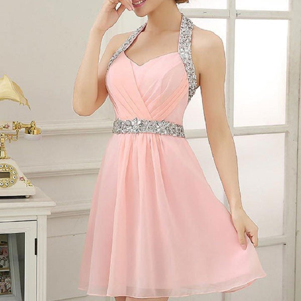 A-line Halter Sleeveless Chiffon Beaded Pink Homecoming Dresses,Hot 04 - Solodresses