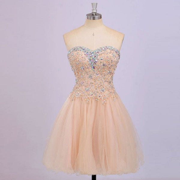 Luxury Beaded Sweetheart Neck Lace Appliqued Homecoming Dresses,Hot 06 - Solodresses
