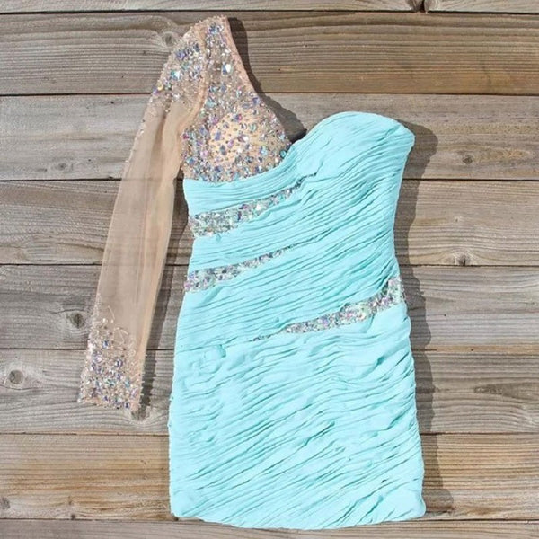 Shining Aqua Chiffon Homecoming Dresses with One Full Sleeve,Hot 07 - Solodresses