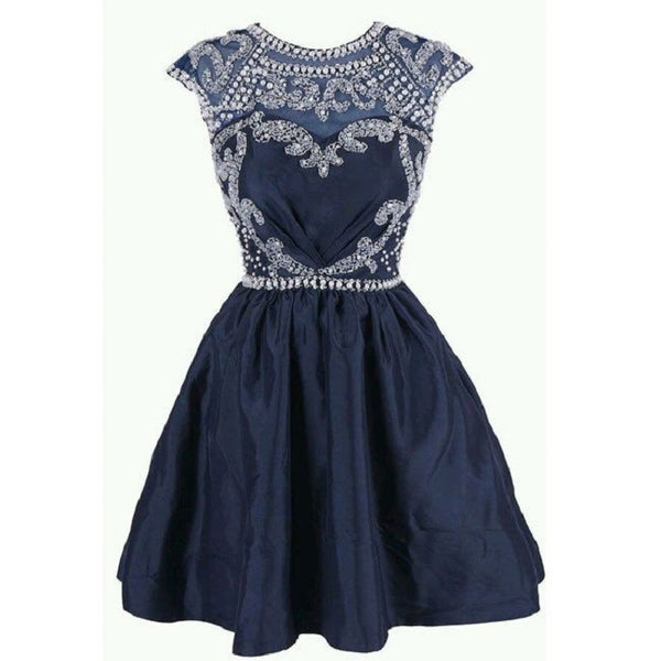 Illusion Neck Navy Taffeta with Beaded Lace Homecoming Dresses,Hot 08 - Solodresses