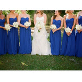 A-line Sweetheart Neck Strapless Sleeveless Ruched Embellished Floor-length Royal Blue Chiffon Bridesmaid Party Dresses - Solodresses