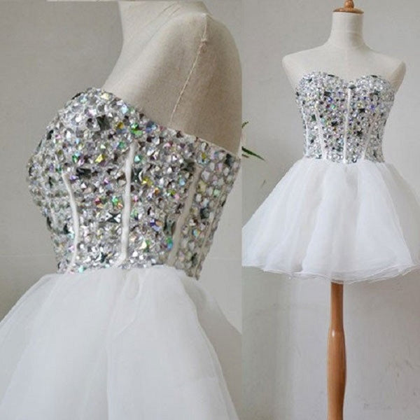 Sweetheart Neck Rhinestone Beaded White Organza Homecoming Dresses,Hot 12 - Solodresses