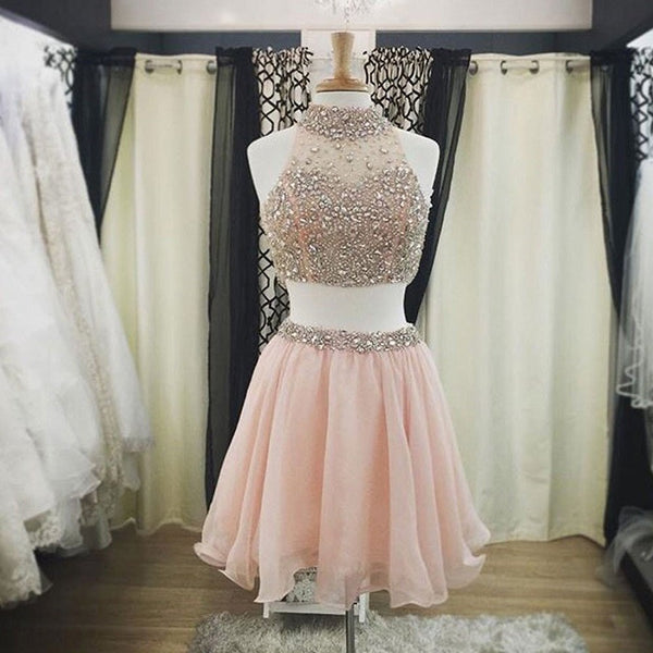Two Pieces High Neck Light Pink Organza with Beaded Lace Homecoming Dresses ,Hot 15 - Solodresses