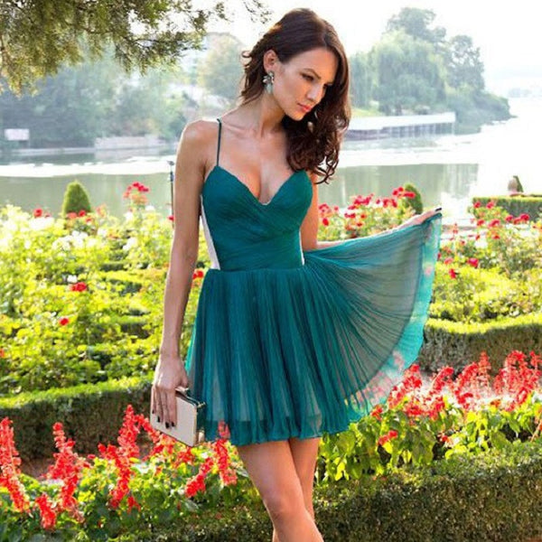 A-line V-neck Short Dark Green Chiffon Homecoming Dresses,Hot 16 - Solodresses