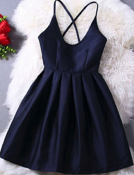 Simple A-line Spaghetti Strap Taffeta Homecoming Dresses,Hot 17 - Solodresses