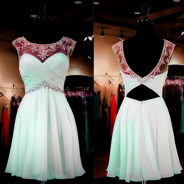 2016 Short Homecoming Dresses,Mint Chiffon Beaded Dresses,Hot20 - Solodresses