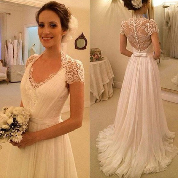 Perfect A-line Low Collar See-through Back Cap Sleeves Lace Ivory Chiffon Wedding Dress, Hot 37 - Solodresses