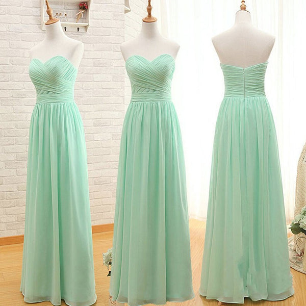 A-line Sweetheart Neck Sleeveless Strapless Floor-length Mint Chiffon Bridesmaid Dresses,Long Bridesmaid Dresses - Solodresses