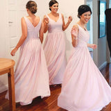 A-line V-neck Sleeveless Ruched Embellished Light Pink Floor-length Chiffon Bridesmaid Dresses,Wedding Party Dresses - Solodresses