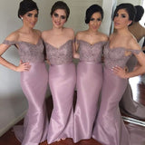 Mermaid Off the shoulder Appliqued Beaded Sleeveless Sweep Train Cameo Taffeta Bridesmaid Dresses - Solodresses
