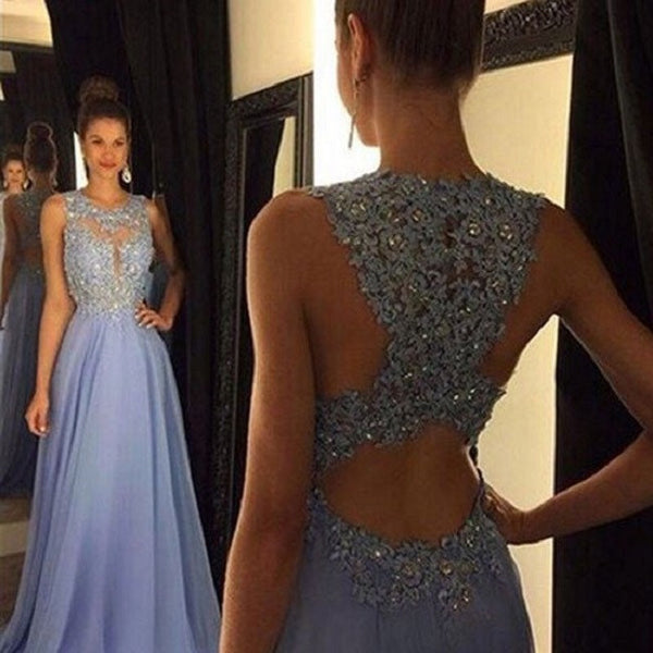 A-line Illusion Neck Open Back Sleeveless Rhinestone Beaded Lace Appliqued Floor Length Lavender Chiffon Prom Dress - Solodresses