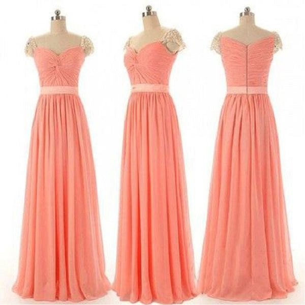 A-line Sweetheart Neck Ruched Embellished Beaded Cap Sleeves Floor-length Coral Chiffon Long Bridesmaid Dresses - Solodresses