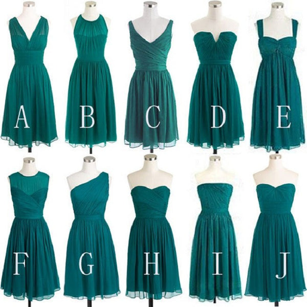 Mismatched A-line Sleeveless Ruched Embellished Empire Mini Length Green Chiffon Short Bridesmaid Dresses on Summer Wedding - Solodresses