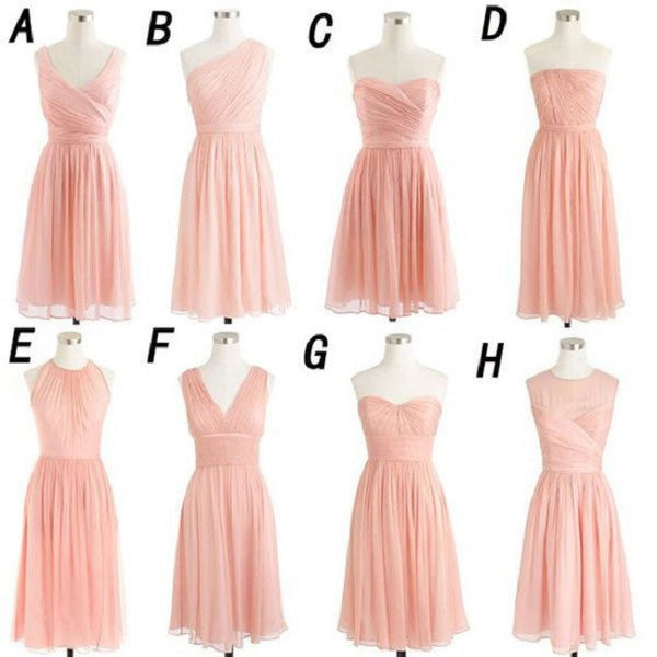 A-line Ruched Embellished Sleeveless Mini Length Short Blush Pink Chiffon Bridesmaid Dresses - Solodresses
