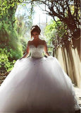 Shining & Sparkly Illusion Neck Long Sleeves Lace Up Rhinestone Beaded Tulle Wedding Dress,Wedding Ball Gown - Solodresses