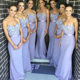 Mermaid Strapless Flowers Embellished Sweetheart Neck Strapless Sweep Train Light Purple Bridesmaid Gowns - Solodresses