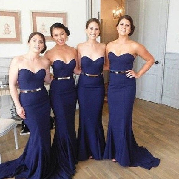 Mermaid Sweetheart Neck Sleeveless Gold Sash Navy Jersey Sweep Train Bridesmaid Dresses,Wedding Party Gowns - Solodresses