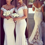 Mermaid Off the shoulder Appliqued Beaded Sleeveless Sweep Train Ivory Tulle Bridesmaid Dresses - Solodresses