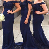 Mermaid Off the Shoulder Sleeveless Lace Appliqued Beaded Sweep Train Navy Wedding Party Dresses,Bridesmaid Dresses - Solodresses
