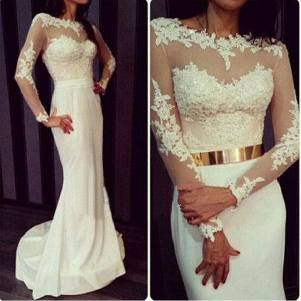 Mermaid Illusion Neck Long Sleeves Lace Beaded Appliqued Court Train Ivory Taffeta Wedding Dresses - Solodresses