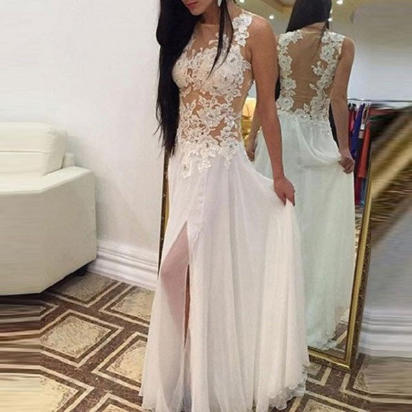Graceful A-line Floor-length See-through Appliqued Beaded Ivory Chiffon Beach Wedding Dress with Crack - Solodresses