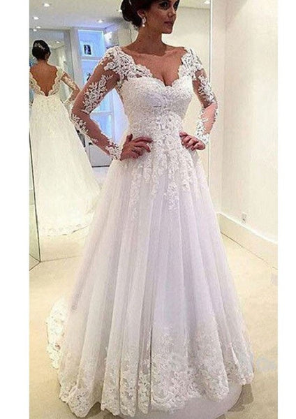 A-line V-neck Long Sleeves Lace Appliqued Beaded Chapel Train Tulle Bridal Wedding Gown - Solodresses