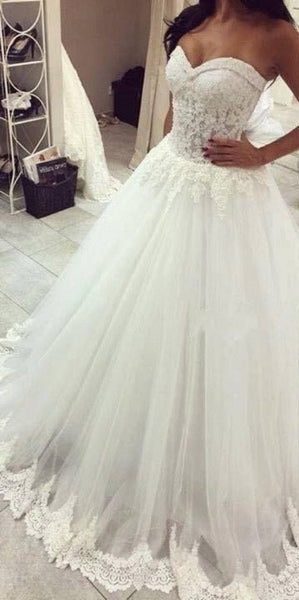 A-line Strapless Sweetheart Neck Lace Beaded Appliqued Chapel Train Ivory Wedding Gown - Solodresses