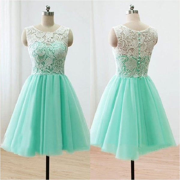 Mint A-line Illusion Neck Sleeveless Mini length  Ivory Lace Short Bridesmaid Dresses, Homecoming Dresses - Solodresses