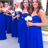 A-line Sweetheart Neck Strapless Sleeveless Beaded Empire Waist Floor-length Royal Blue Chiffon Bridesmaid Dresses,Long Wedding Party Gowns - Solodresses
