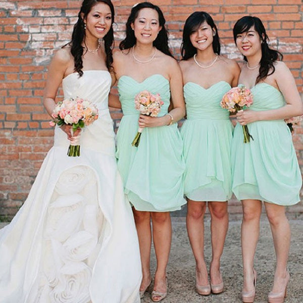 A-line Strapless Sweetheart Neck Sleeveless Ruched Embellished Mini Length Mint Chiffon Short Bridesmaid Dresses,Summer Wedding Party Dresses - Solodresses
