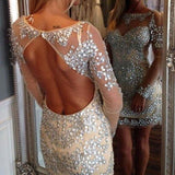Shining Rhinestone Beaded Backless Homecoming Dresses with Long Sleeves,Hot 56 - Solodresses