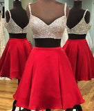 2 Pieces Sweetheart Neck Beaded Red Homecoming Dresses with Spaghetti Strap,Hot 58 - Solodresses