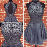 Halter High Neck Gray Tulle Beaded Bodice Homecoming Dresses,Hot 59 - Solodresses