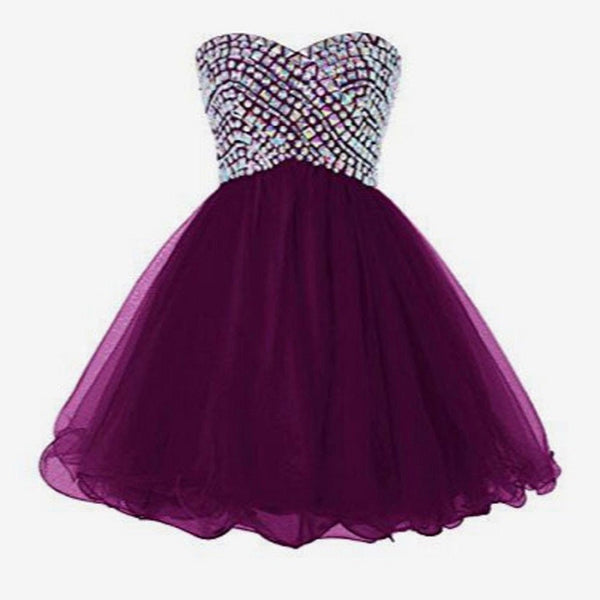 Cocktail Dresses,Bead Cocktail Dresses,Strapless Rhinestone Beaded Bodice Purple Tulle Homecoming Dresses,Hot 65 - Solodresses