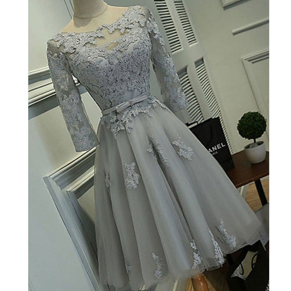 Half Sleeve Silver Tulle with Lace Appliqued Short Prom Dresses ,Hot 68 - Solodresses
