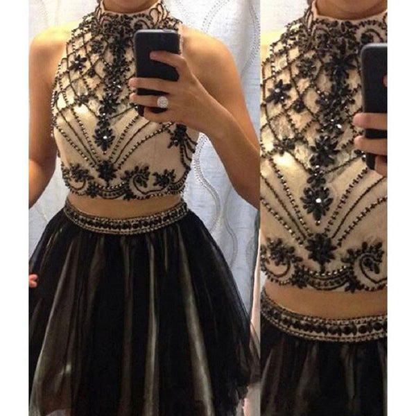 2cad8cb9ebf 2016 High Neck Two Pieces Beaded Homecoming Dresses